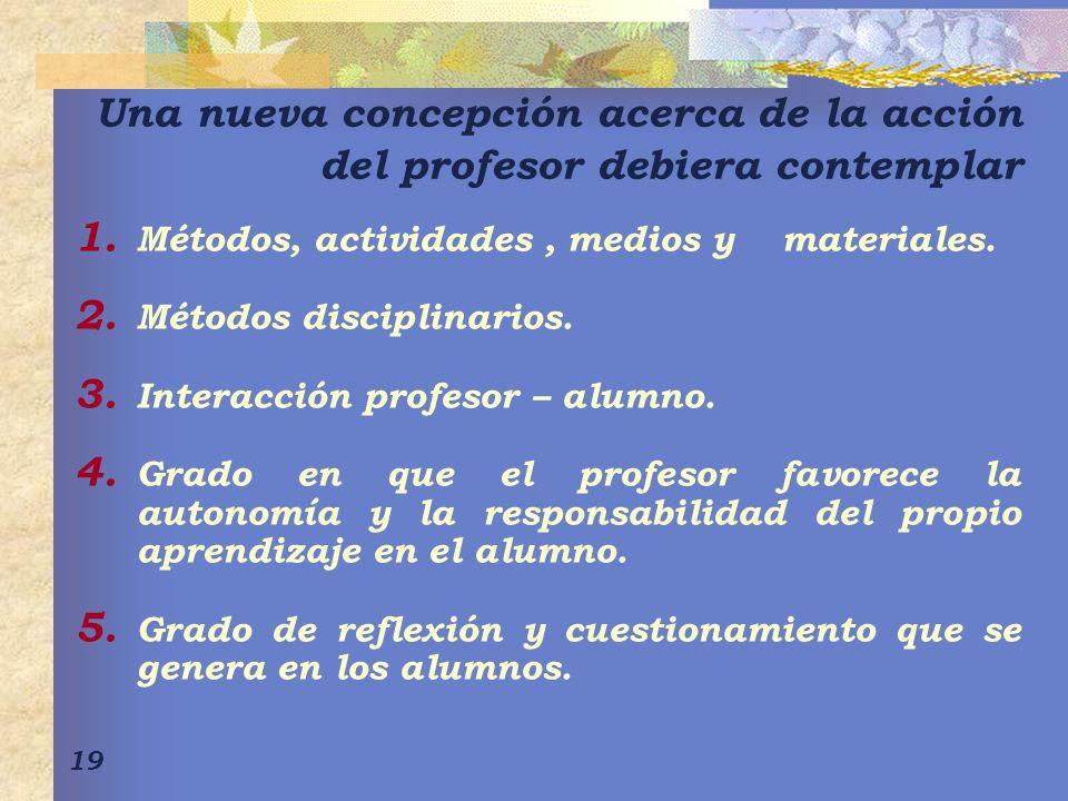 19 Una nueva concepción acerca de la acción del profesor debiera contemplar 1. Métodos, actividades, medios y materiales. 2. Métodos disciplinarios. 3