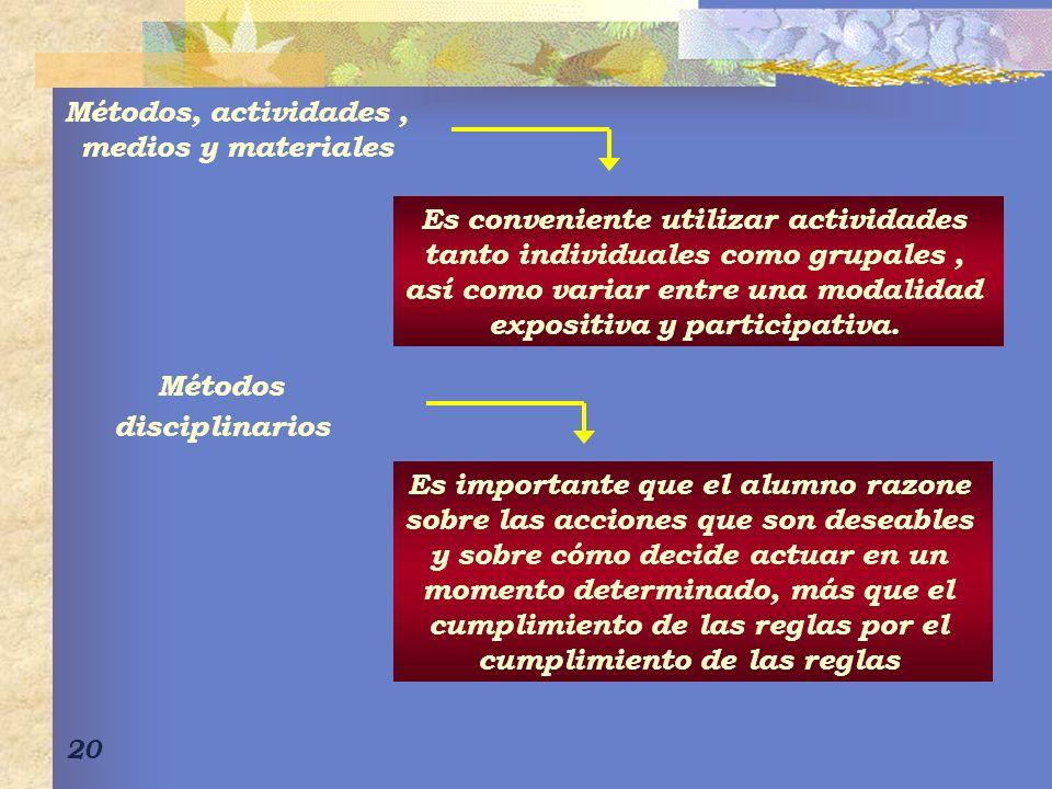 20 Métodos, actividades, medios y materiales Es conveniente utilizar actividades tanto individuales como grupales, así como variar entre una modalidad