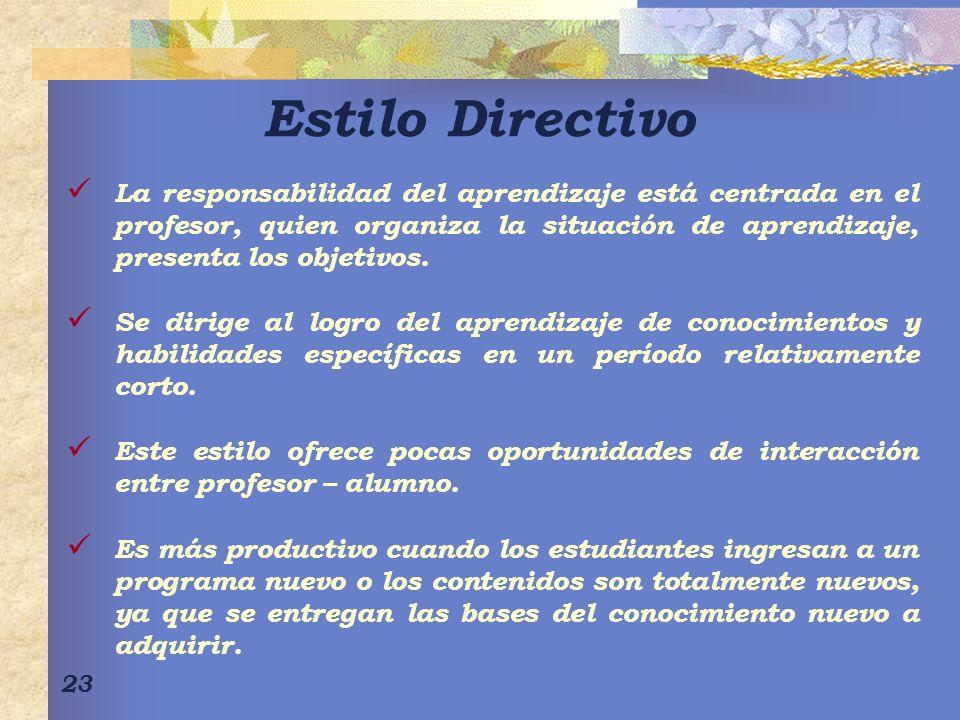 23 Estilo Directivo La responsabilidad del aprendizaje está centrada en el profesor, quien organiza la situación de aprendizaje, presenta los objetivo