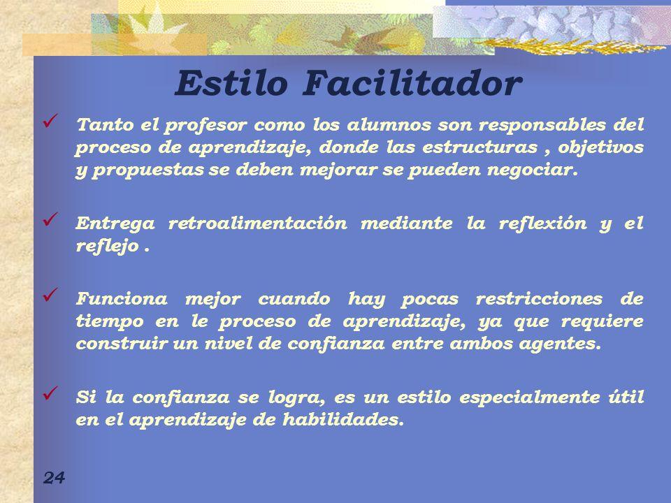 24 Estilo Facilitador Tanto el profesor como los alumnos son responsables del proceso de aprendizaje, donde las estructuras, objetivos y propuestas se