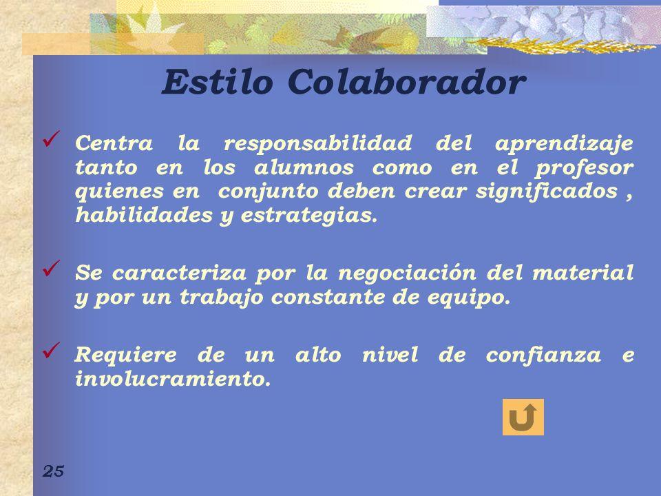 25 Estilo Colaborador Centra la responsabilidad del aprendizaje tanto en los alumnos como en el profesor quienes en conjunto deben crear significados,