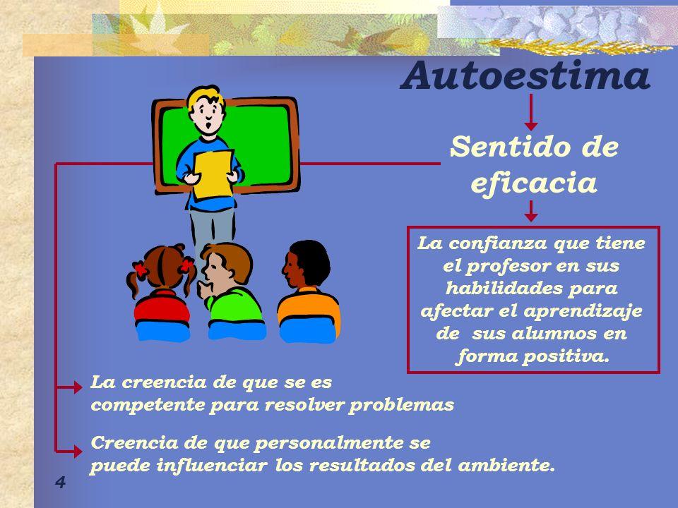 4 Autoestima Sentido de eficacia La confianza que tiene el profesor en sus habilidades para afectar el aprendizaje de sus alumnos en forma positiva. L