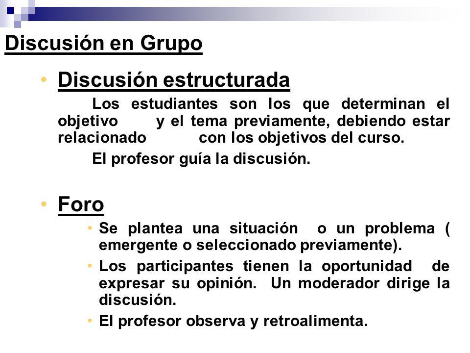 Discusión estructurada Los estudiantes son los que determinan el objetivo y el tema previamente, debiendo estar relacionado con los objetivos del curs