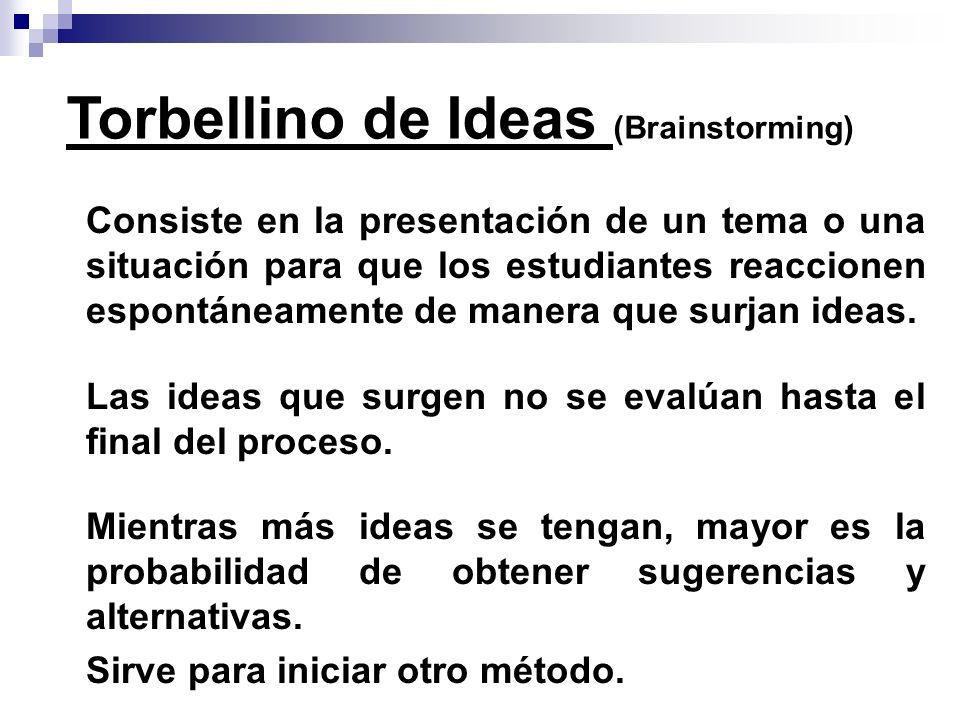 Consiste en la presentación de un tema o una situación para que los estudiantes reaccionen espontáneamente de manera que surjan ideas. Las ideas que s