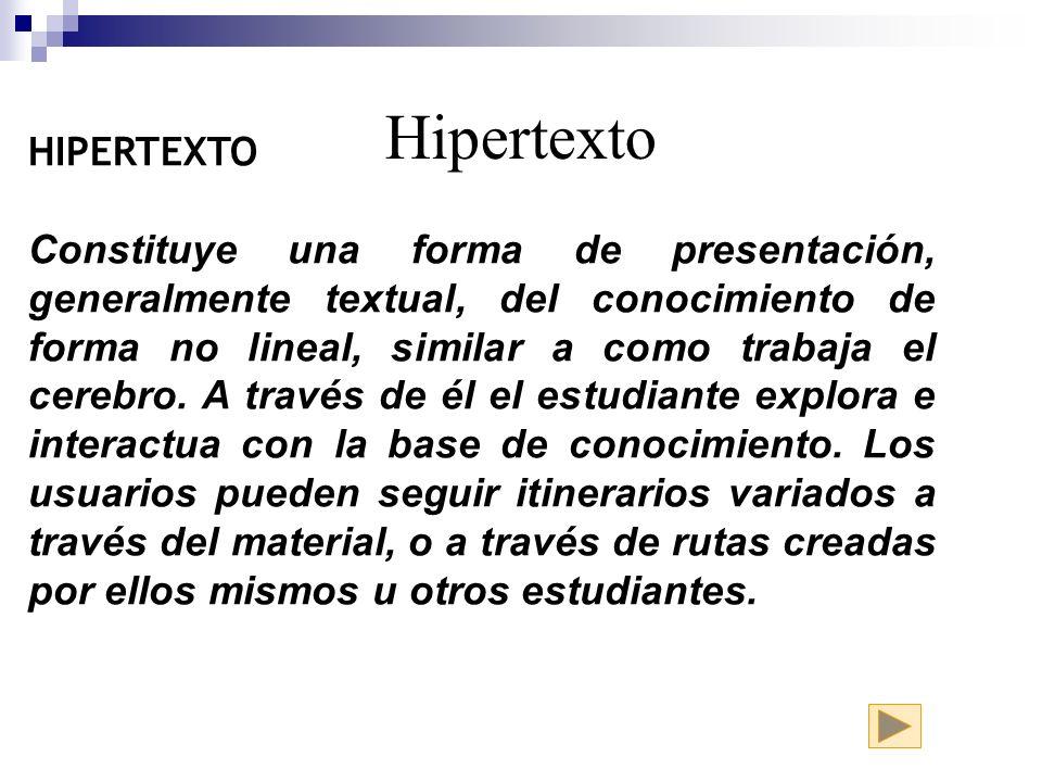 Hipertexto HIPERTEXTO Constituye una forma de presentación, generalmente textual, del conocimiento de forma no lineal, similar a como trabaja el cereb