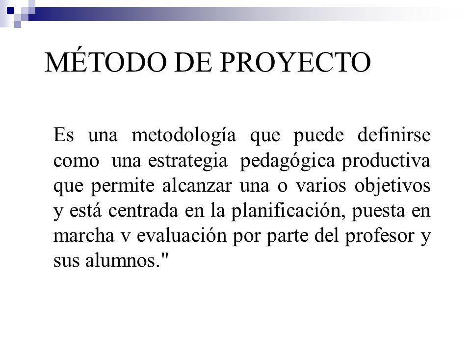 MÉTODO DE PROYECTO Es una metodología que puede definirse como una estrategia pedagógica productiva que permite alcanzar una o varios objetivos y está