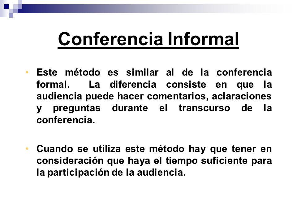Este método es similar al de la conferencia formal. La diferencia consiste en que la audiencia puede hacer comentarios, aclaraciones y preguntas duran