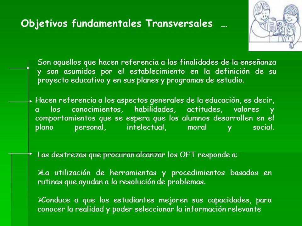 Objetivos fundamentales Transversales … Son aquellos que hacen referencia a las finalidades de la enseñanza y son asumidos por el establecimiento en l