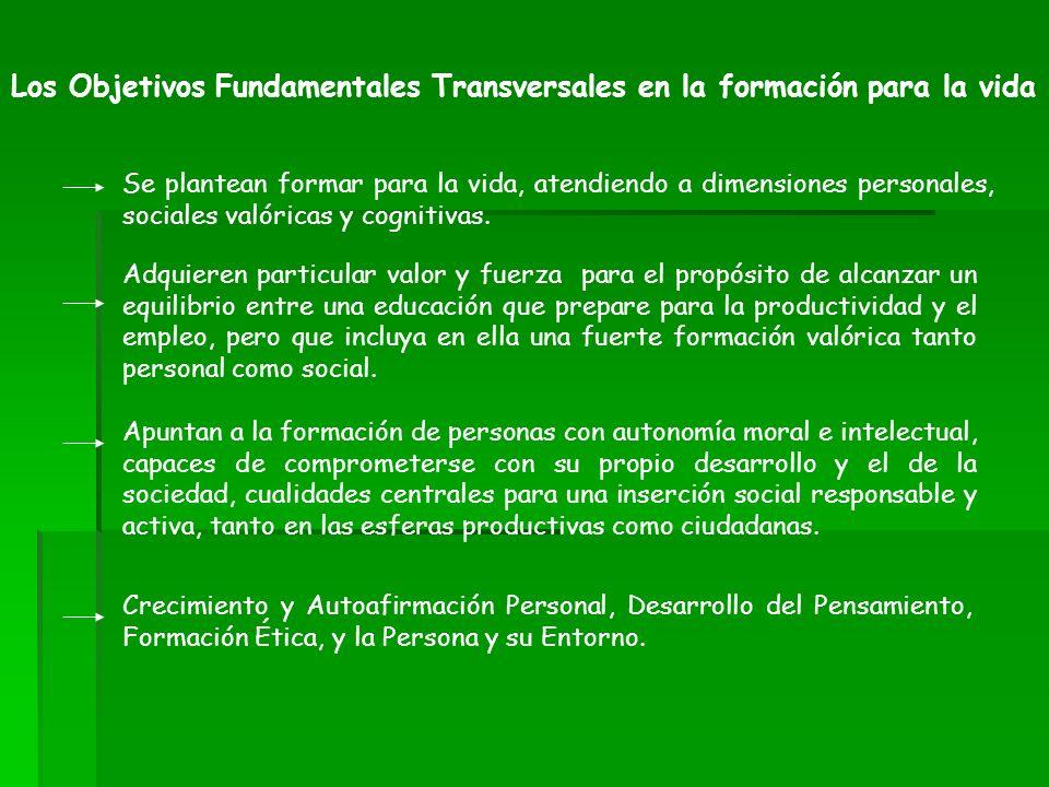 Los Objetivos Fundamentales Transversales en la formación para la vida Se plantean formar para la vida, atendiendo a dimensiones personales, sociales