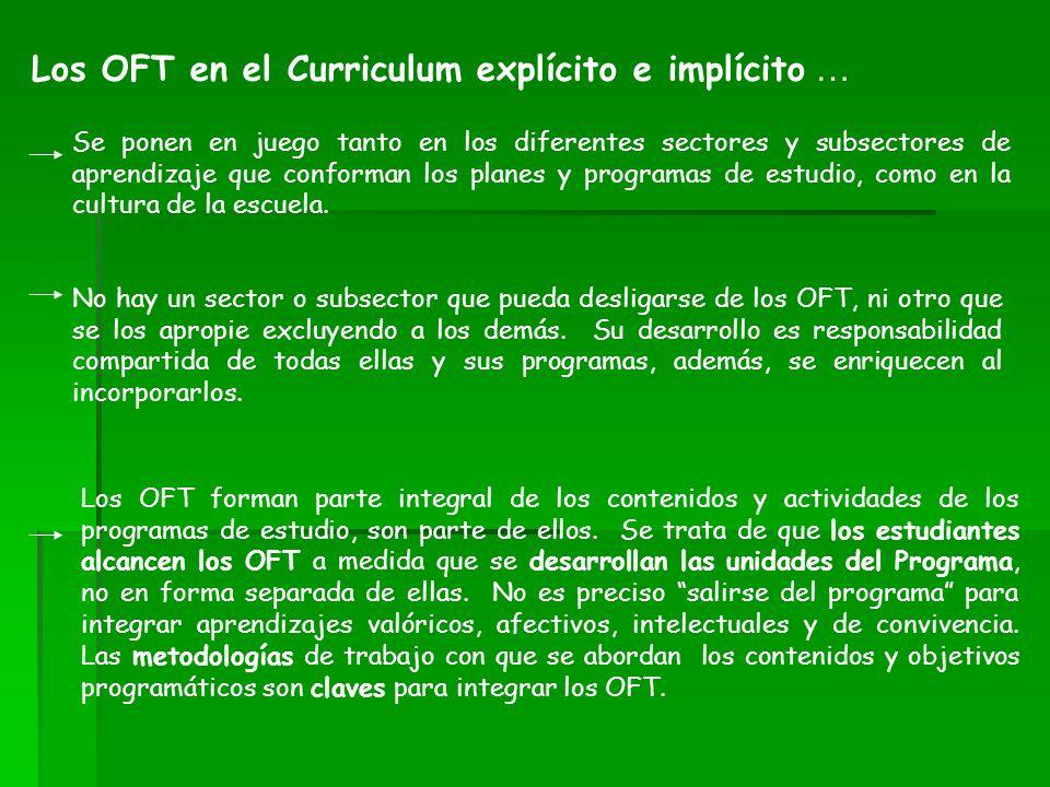 Los OFT en el Curriculum explícito e implícito … Se ponen en juego tanto en los diferentes sectores y subsectores de aprendizaje que conforman los pla