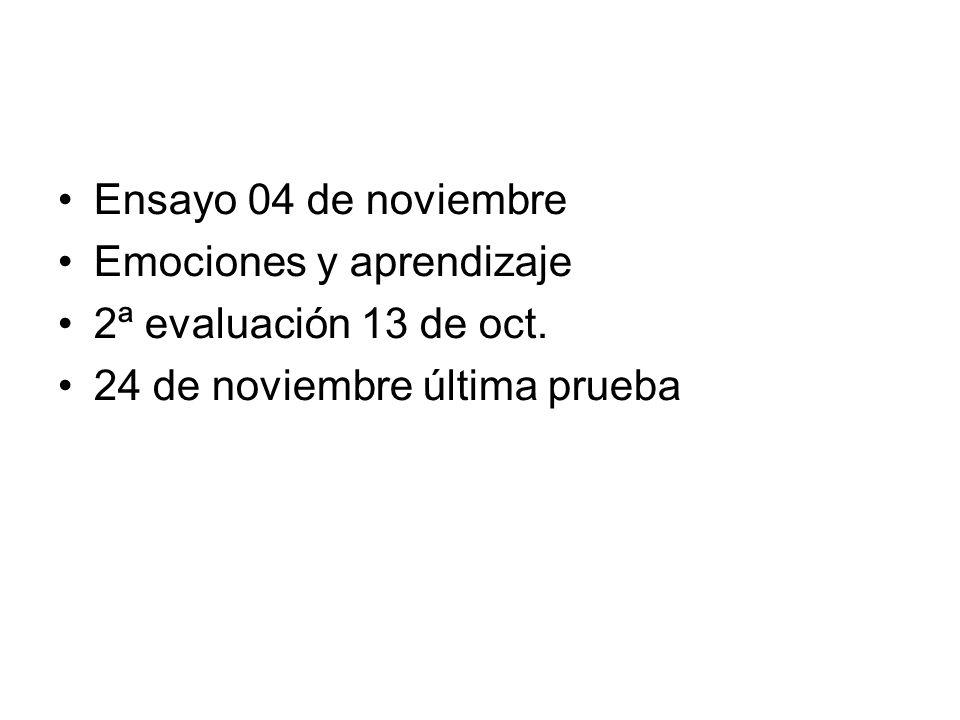 Ensayo 04 de noviembre Emociones y aprendizaje 2ª evaluación 13 de oct.