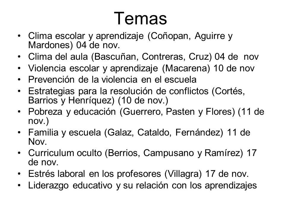 Temas Clima escolar y aprendizaje (Coñopan, Aguirre y Mardones) 04 de nov.