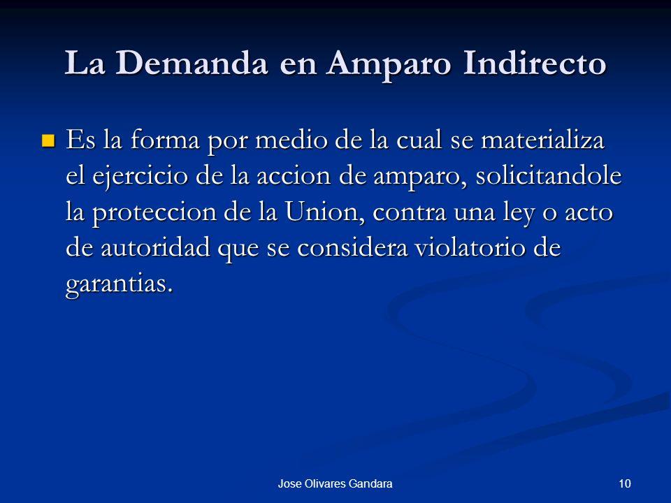 10Jose Olivares Gandara La Demanda en Amparo Indirecto Es la forma por medio de la cual se materializa el ejercicio de la accion de amparo, solicitand