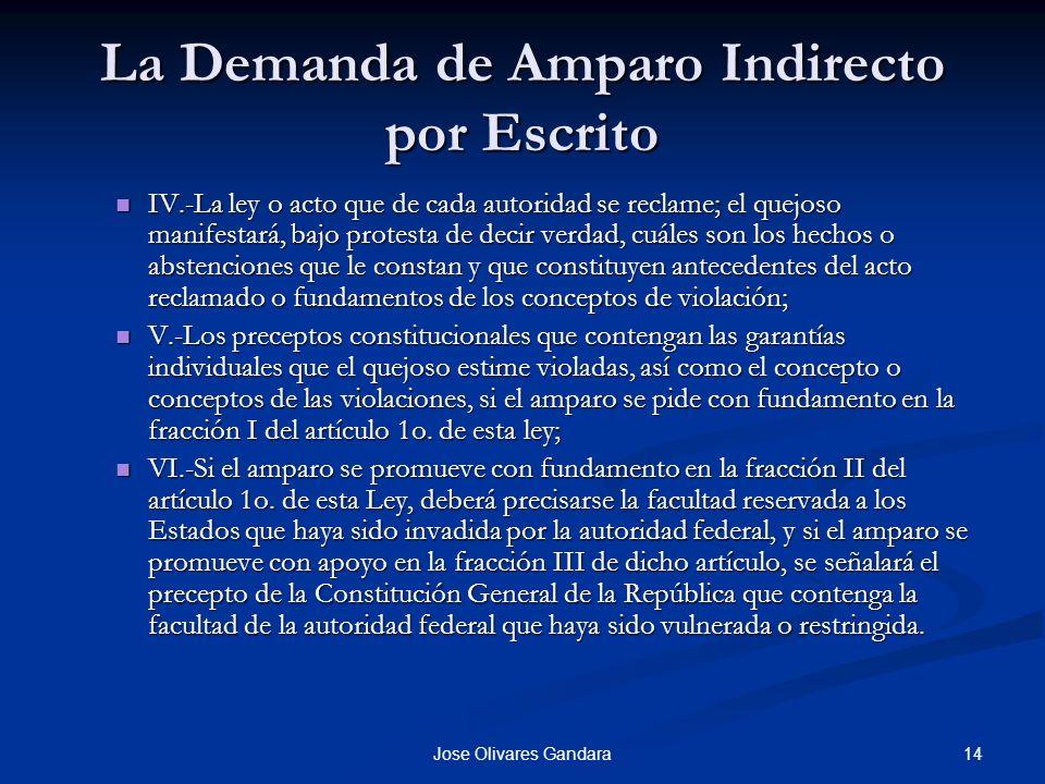 14Jose Olivares Gandara La Demanda de Amparo Indirecto por Escrito IV.-La ley o acto que de cada autoridad se reclame; el quejoso manifestará, bajo pr