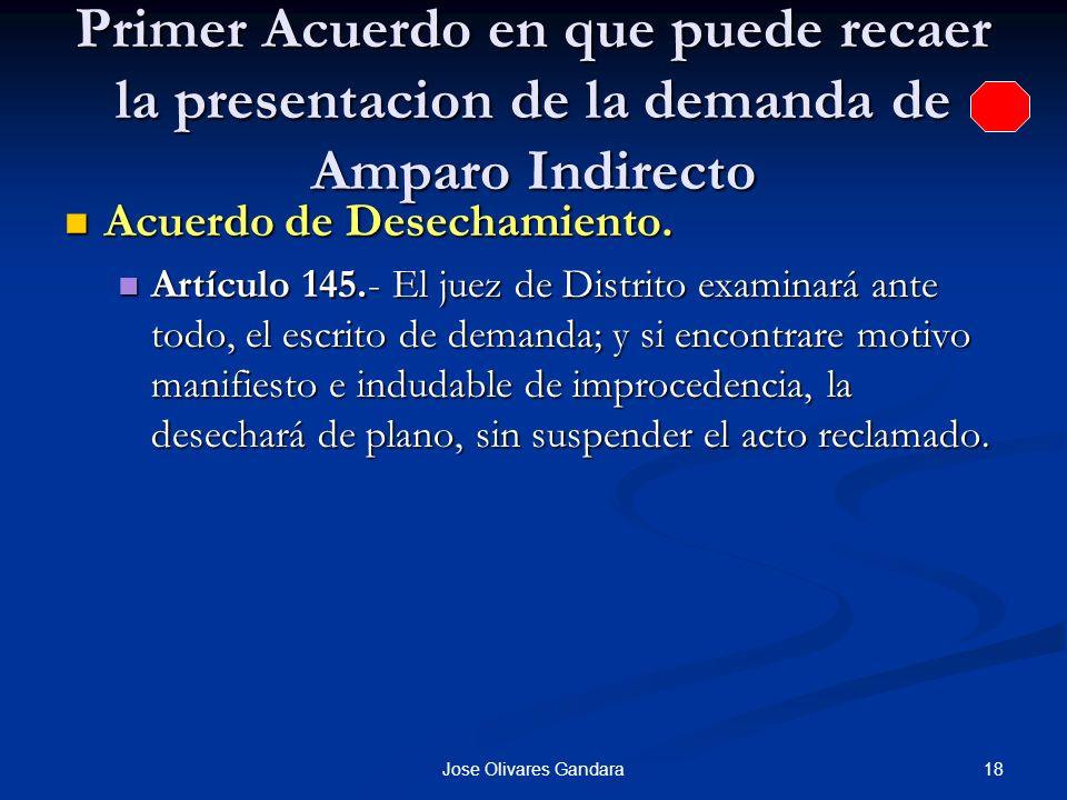 18Jose Olivares Gandara Primer Acuerdo en que puede recaer la presentacion de la demanda de Amparo Indirecto Acuerdo de Desechamiento. Acuerdo de Dese