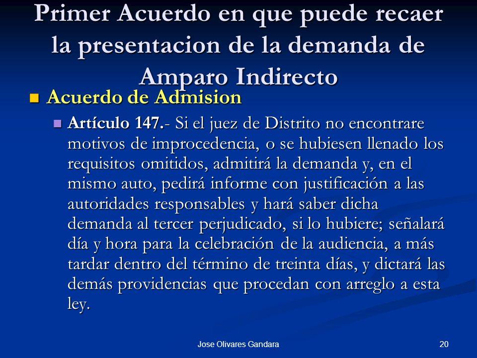 20Jose Olivares Gandara Primer Acuerdo en que puede recaer la presentacion de la demanda de Amparo Indirecto Acuerdo de Admision Acuerdo de Admision A