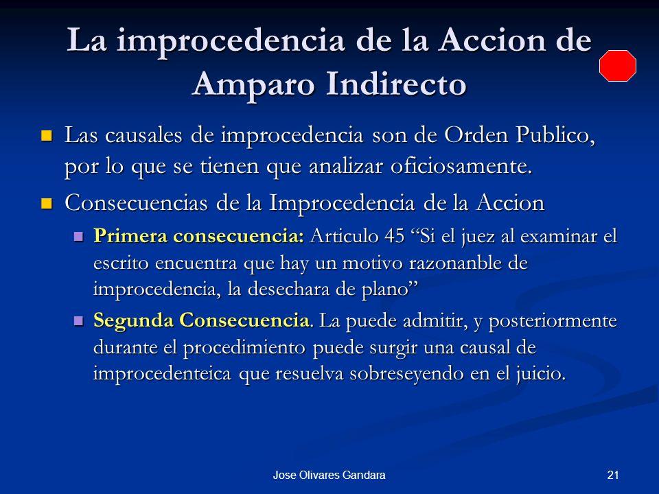 21Jose Olivares Gandara La improcedencia de la Accion de Amparo Indirecto Las causales de improcedencia son de Orden Publico, por lo que se tienen que