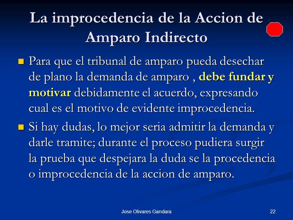 22Jose Olivares Gandara La improcedencia de la Accion de Amparo Indirecto Para que el tribunal de amparo pueda desechar de plano la demanda de amparo,