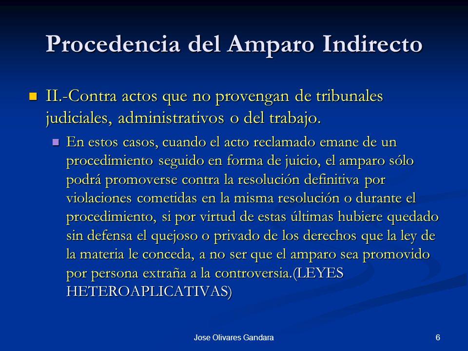 6Jose Olivares Gandara Procedencia del Amparo Indirecto II.-Contra actos que no provengan de tribunales judiciales, administrativos o del trabajo. II.