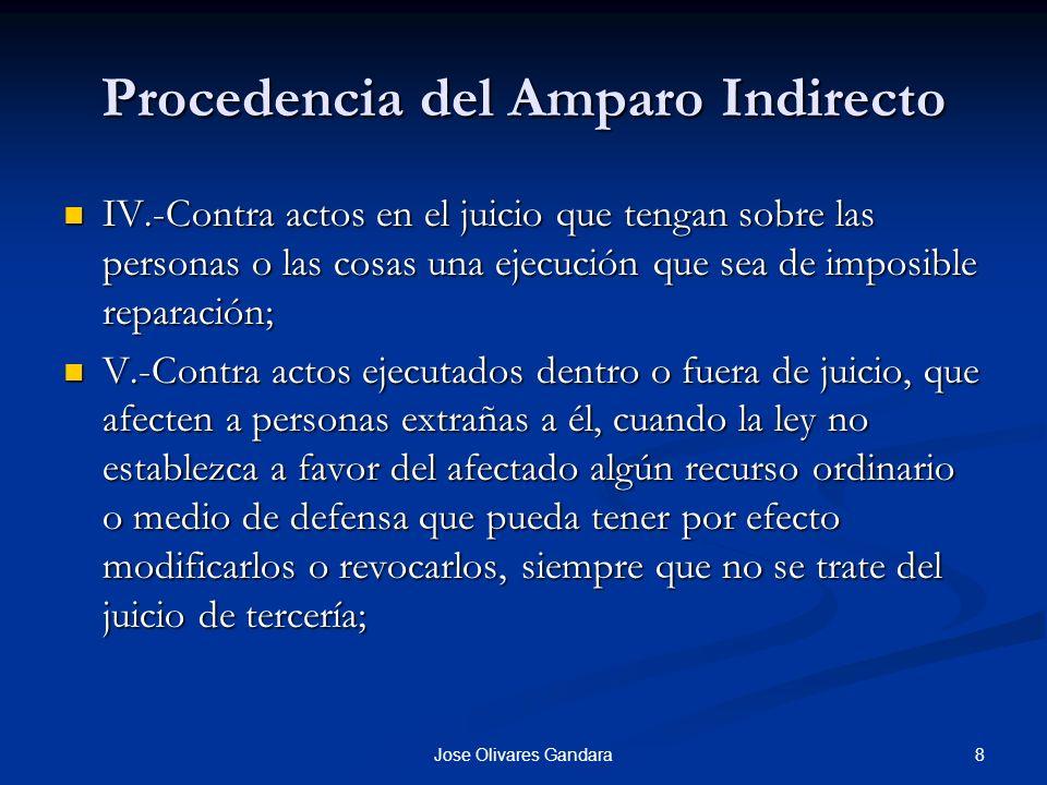 8Jose Olivares Gandara Procedencia del Amparo Indirecto IV.-Contra actos en el juicio que tengan sobre las personas o las cosas una ejecución que sea