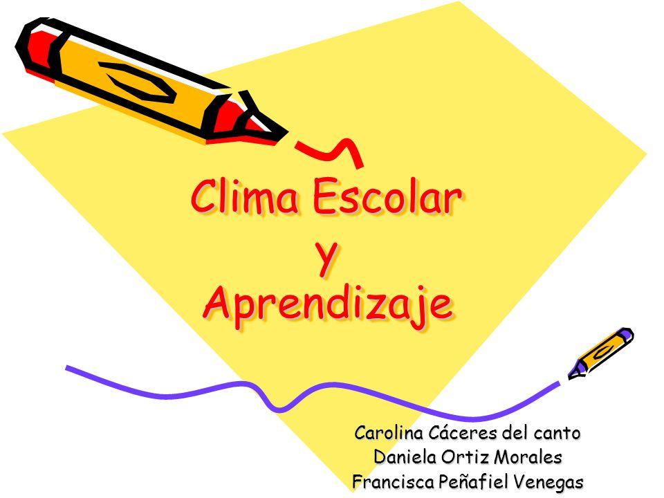 Clima Escolar y Aprendizaje Carolina Cáceres del canto Daniela Ortiz Morales Francisca Peñafiel Venegas