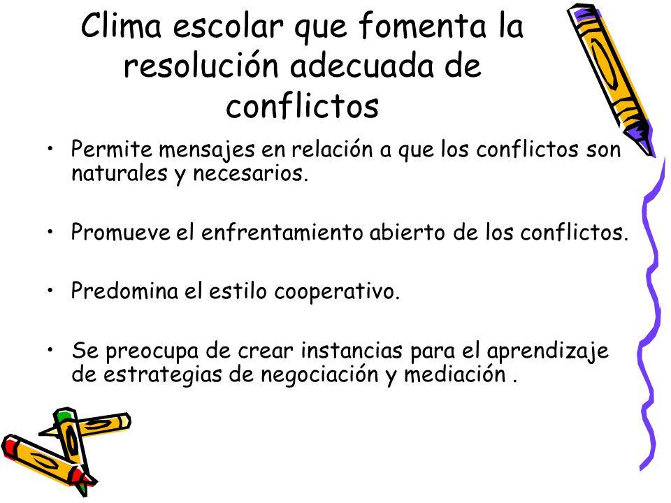 Clima escolar que fomenta la resolución adecuada de conflictos Permite mensajes en relación a que los conflictos son naturales y necesarios. Promueve