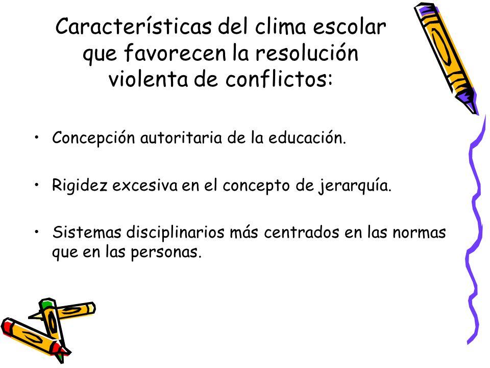 Características del clima escolar que favorecen la resolución violenta de conflictos: Concepción autoritaria de la educación. Rigidez excesiva en el c