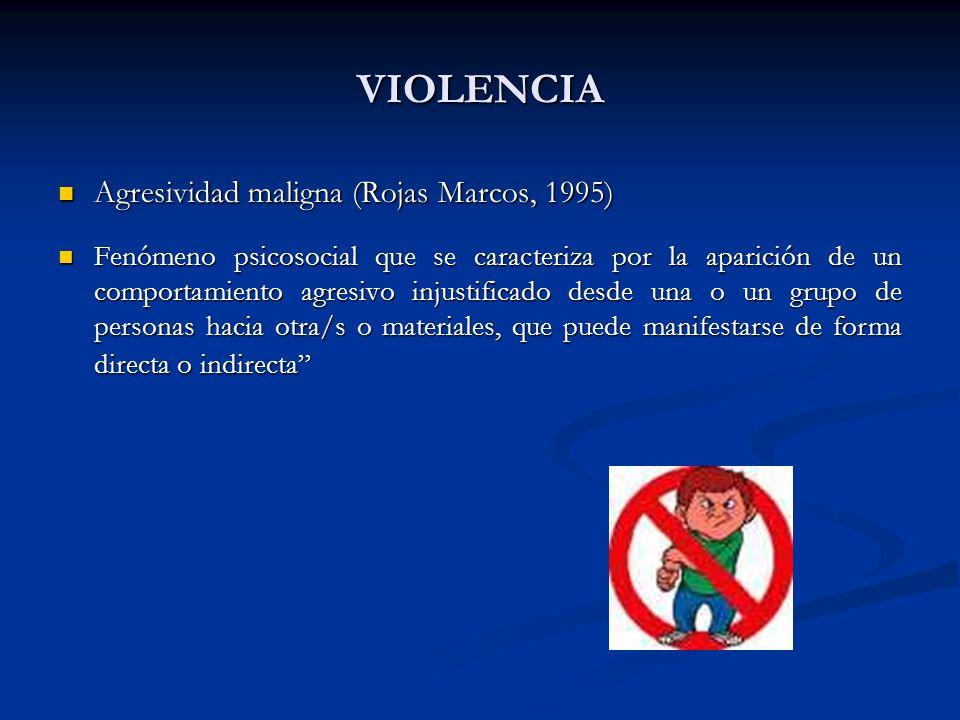 VIOLENCIA Agresividad maligna (Rojas Marcos, 1995) Agresividad maligna (Rojas Marcos, 1995) Fenómeno psicosocial que se caracteriza por la aparición d