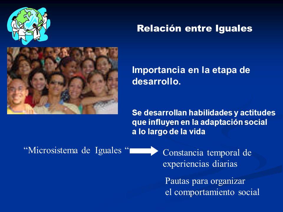 Relación entre Iguales Importancia en la etapa de desarrollo. Se desarrollan habilidades y actitudes que influyen en la adaptación social a lo largo d