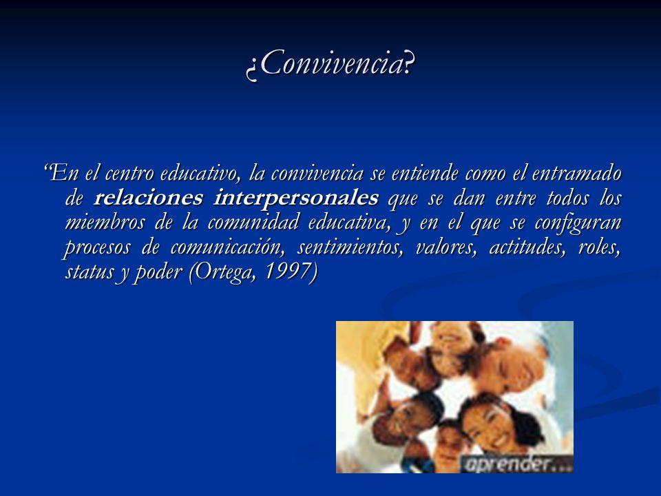¿Convivencia? En el centro educativo, la convivencia se entiende como el entramado de relaciones interpersonales que se dan entre todos los miembros d