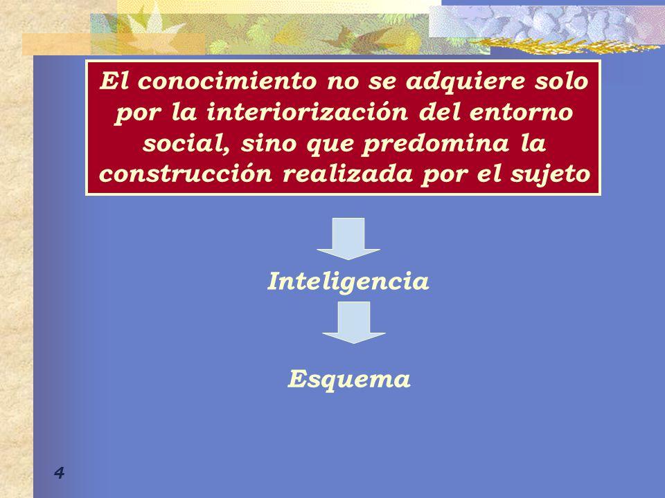4 El conocimiento no se adquiere solo por la interiorización del entorno social, sino que predomina la construcción realizada por el sujeto Inteligencia Esquema