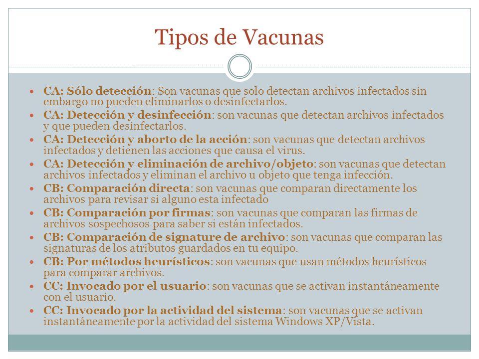 Tipos de Vacunas CA: Sólo detección: Son vacunas que solo detectan archivos infectados sin embargo no pueden eliminarlos o desinfectarlos. CA: Detecci