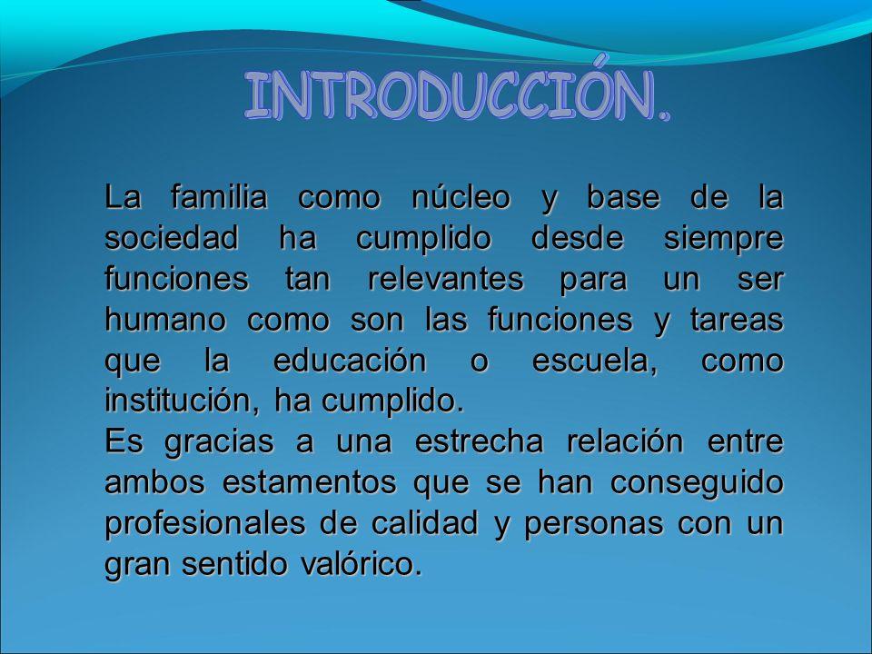 La familia como núcleo y base de la sociedad ha cumplido desde siempre funciones tan relevantes para un ser humano como son las funciones y tareas que la educación o escuela, como institución, ha cumplido.