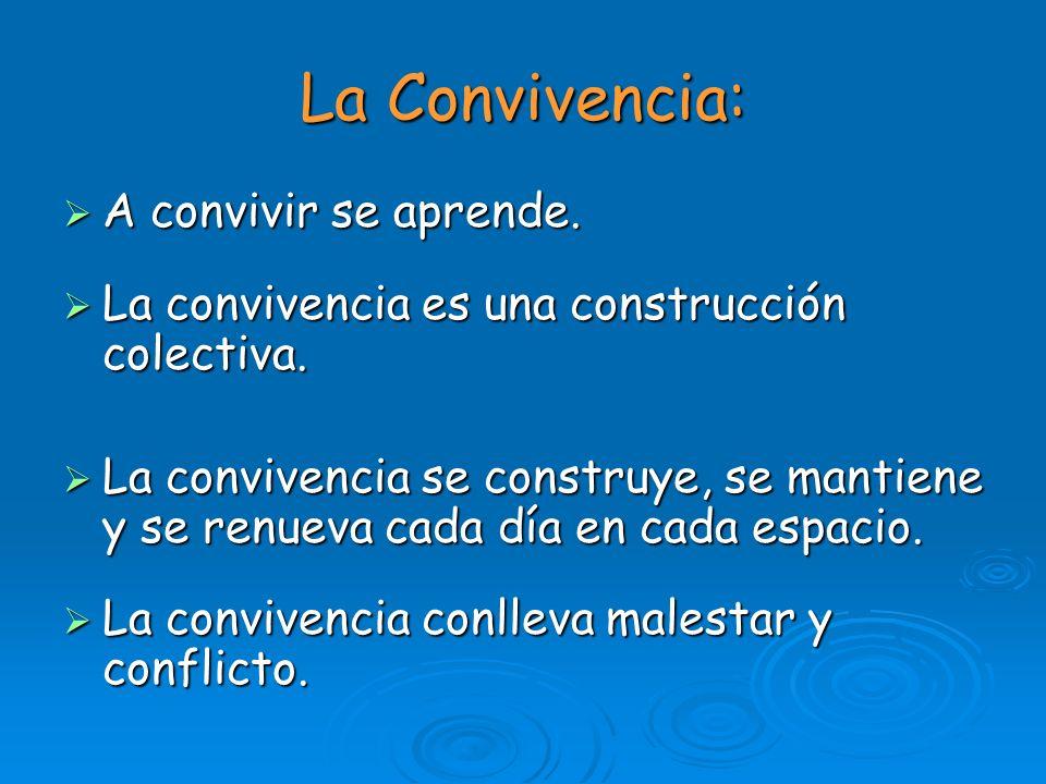 La Convivencia: A convivir se aprende. A convivir se aprende. La convivencia es una construcción colectiva. La convivencia es una construcción colecti