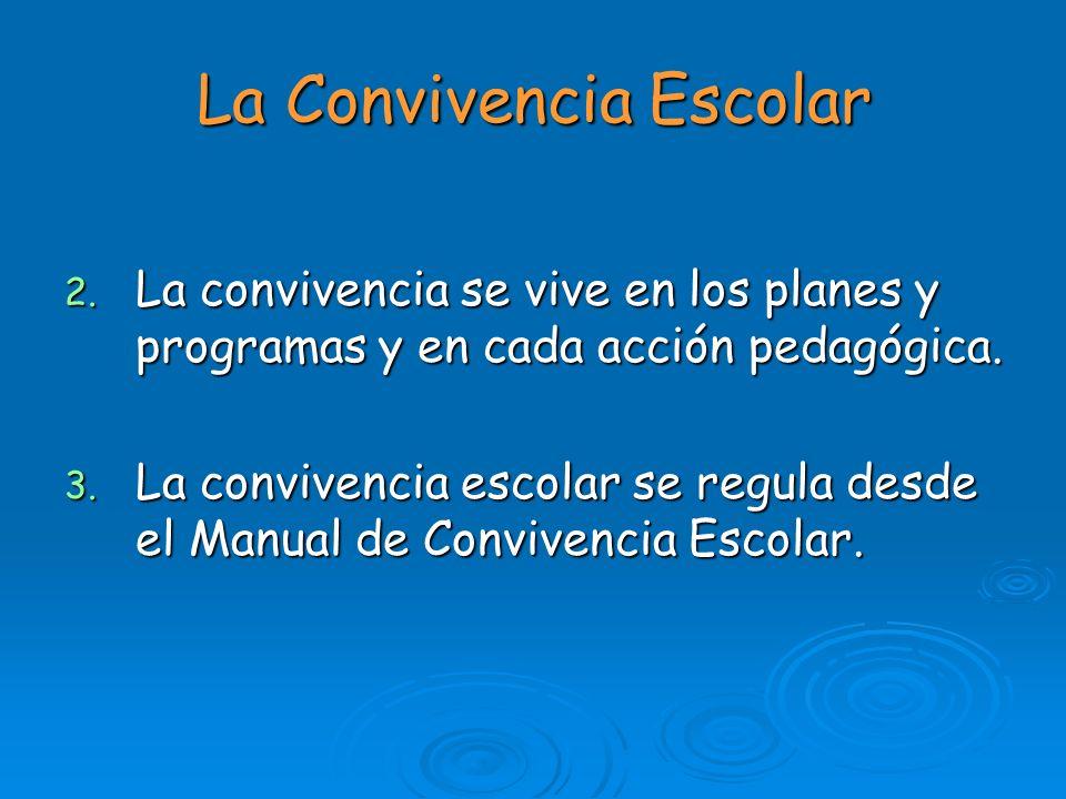 La Convivencia Escolar 2. La convivencia se vive en los planes y programas y en cada acción pedagógica. 3. La convivencia escolar se regula desde el M