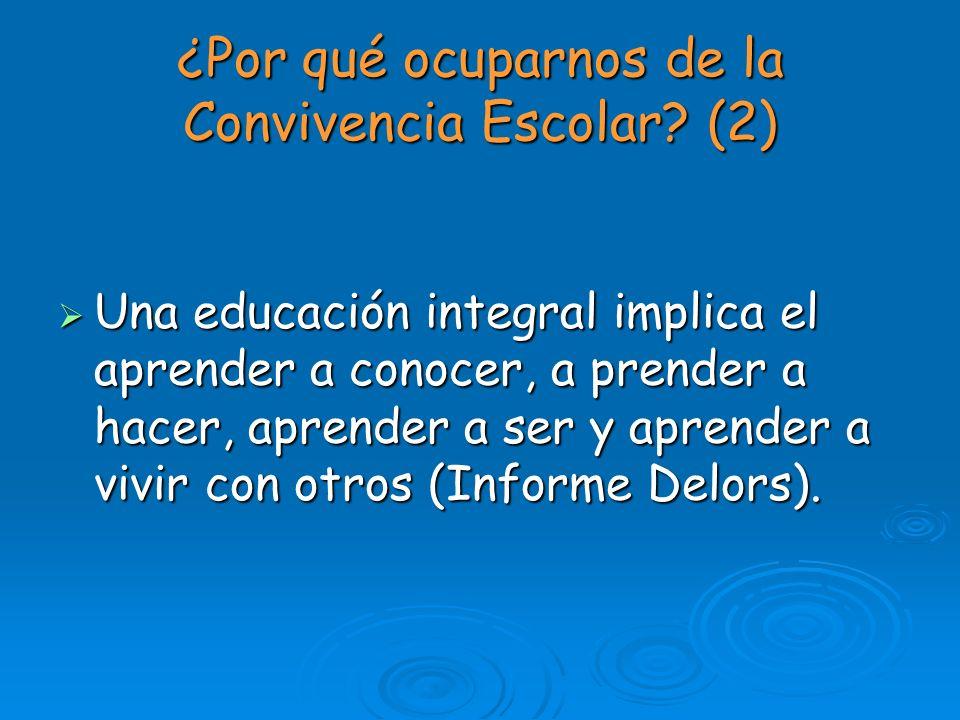¿Por qué ocuparnos de la Convivencia Escolar? (2) Una educación integral implica el aprender a conocer, a prender a hacer, aprender a ser y aprender a