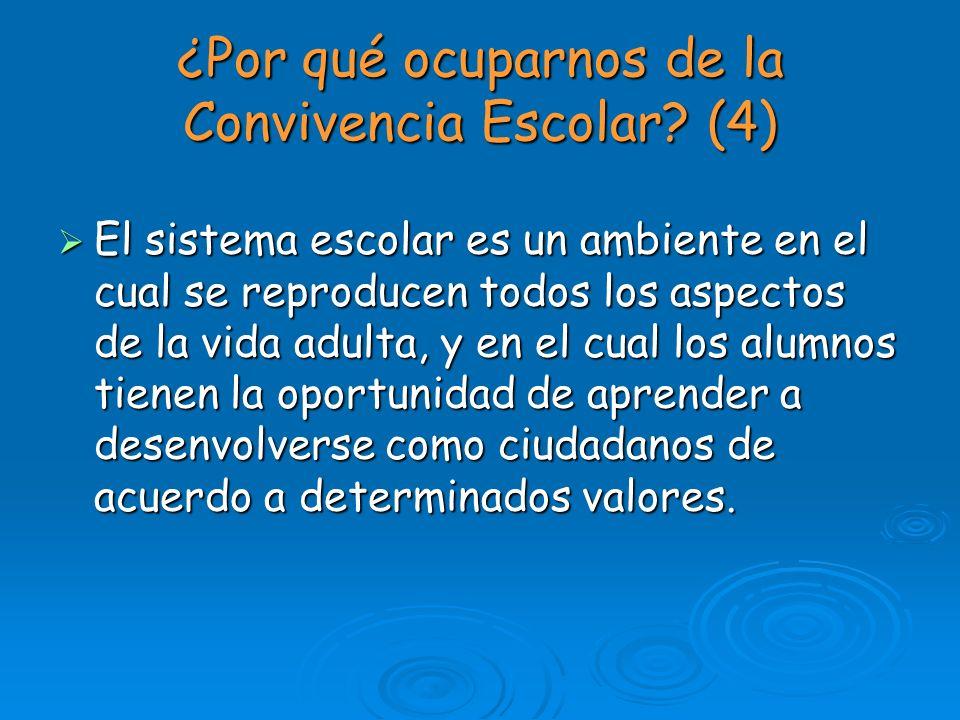 ¿Por qué ocuparnos de la Convivencia Escolar? (4) El sistema escolar es un ambiente en el cual se reproducen todos los aspectos de la vida adulta, y e