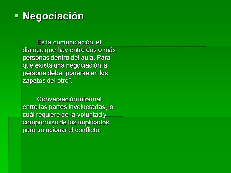 Negociación Negociación Es la comunicación, el dialogo que hay entre dos o más personas dentro del aula. Para que exista una negociación la persona de