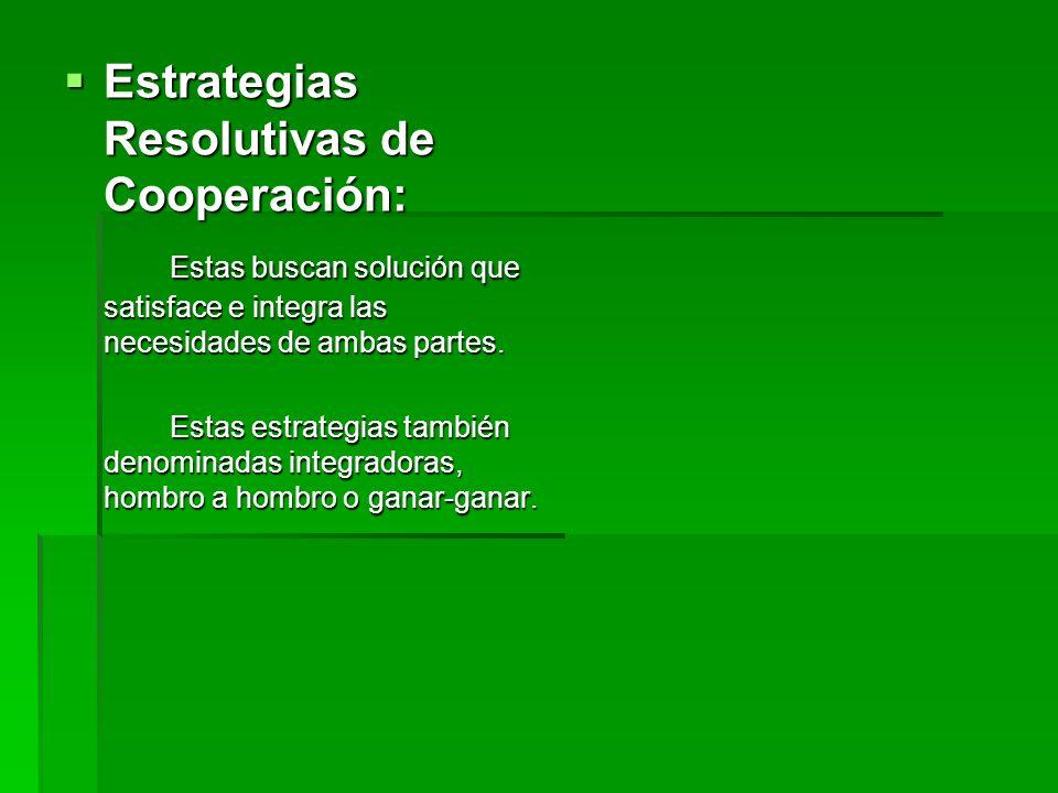 Estrategias Resolutivas de Cooperación: Estrategias Resolutivas de Cooperación: Estas buscan solución que satisface e integra las necesidades de ambas