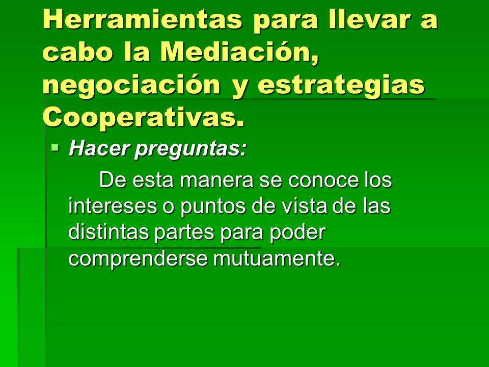 Herramientas para llevar a cabo la Mediación, negociación y estrategias Cooperativas. Hacer preguntas: Hacer preguntas: De esta manera se conoce los i