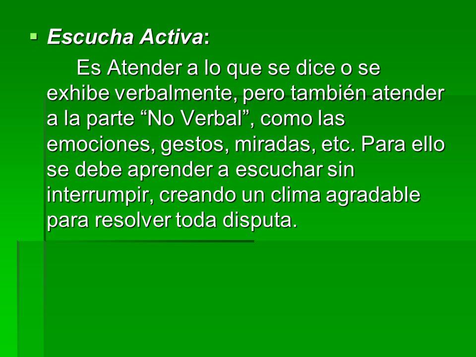 Escucha Activa: Escucha Activa: Es Atender a lo que se dice o se exhibe verbalmente, pero también atender a la parte No Verbal, como las emociones, ge