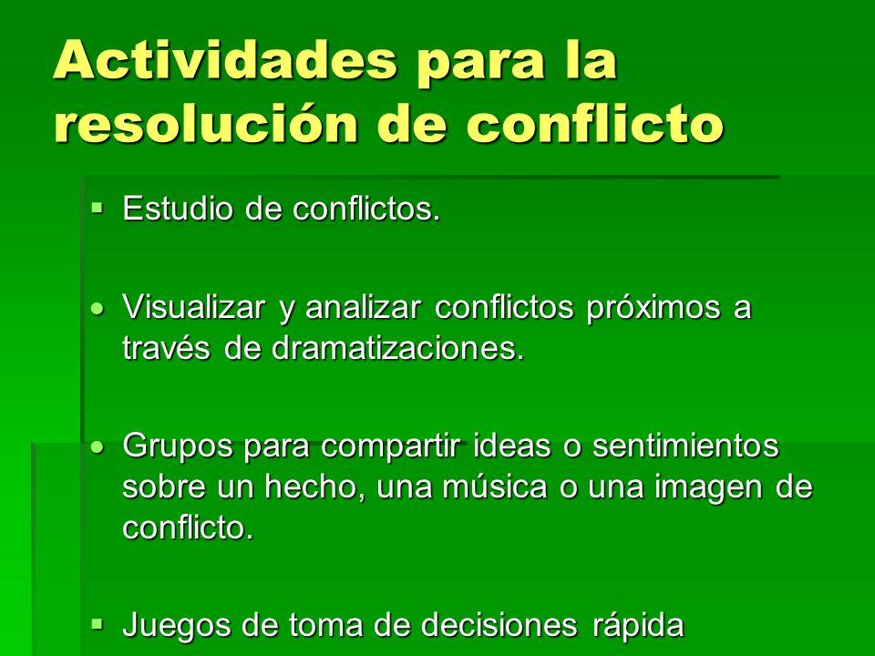 Actividades para la resolución de conflicto Estudio de conflictos. Estudio de conflictos. Visualizar y analizar conflictos próximos a través de dramat