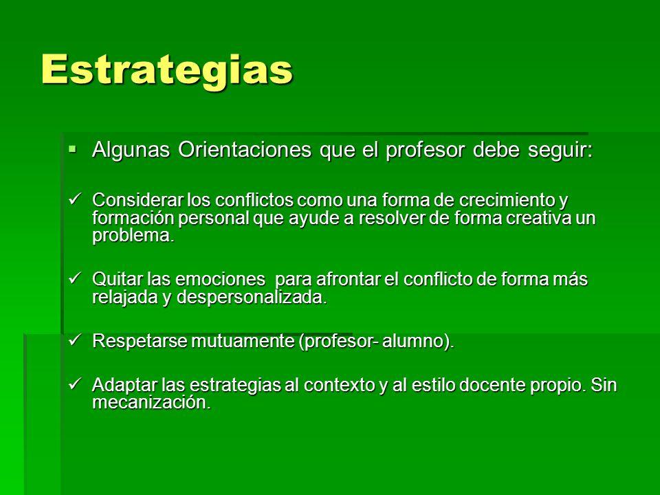Estrategias Algunas Orientaciones que el profesor debe seguir: Algunas Orientaciones que el profesor debe seguir: Considerar los conflictos como una f