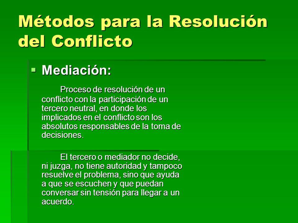 Métodos para la Resolución del Conflicto Mediación: Mediación: Proceso de resolución de un conflicto con la participación de un tercero neutral, en do