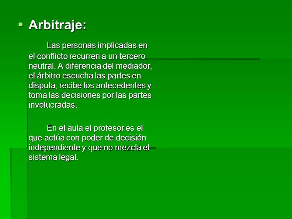 Arbitraje: Arbitraje: Las personas implicadas en el conflicto recurren a un tercero neutral. A diferencia del mediador, el árbitro escucha las partes