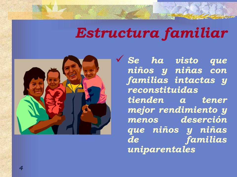 4 Estructura familiar Se ha visto que niños y niñas con familias intactas y reconstituidas tienden a tener mejor rendimiento y menos deserción que niños y niñas de familias uniparentales