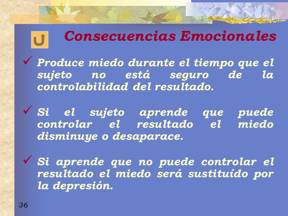 36 Consecuencias Emocionales Produce miedo durante el tiempo que el sujeto no está seguro de la controlabilidad del resultado.