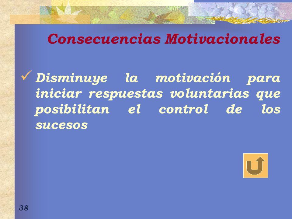 38 Consecuencias Motivacionales Disminuye la motivación para iniciar respuestas voluntarias que posibilitan el control de los sucesos
