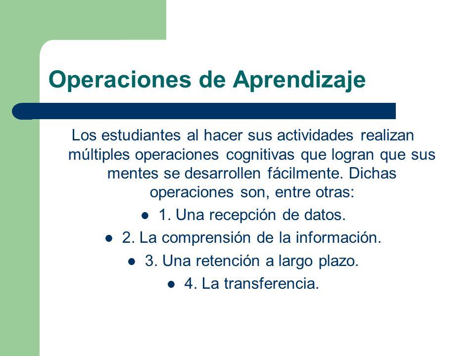 Operaciones de Aprendizaje Los estudiantes al hacer sus actividades realizan múltiples operaciones cognitivas que logran que sus mentes se desarrollen