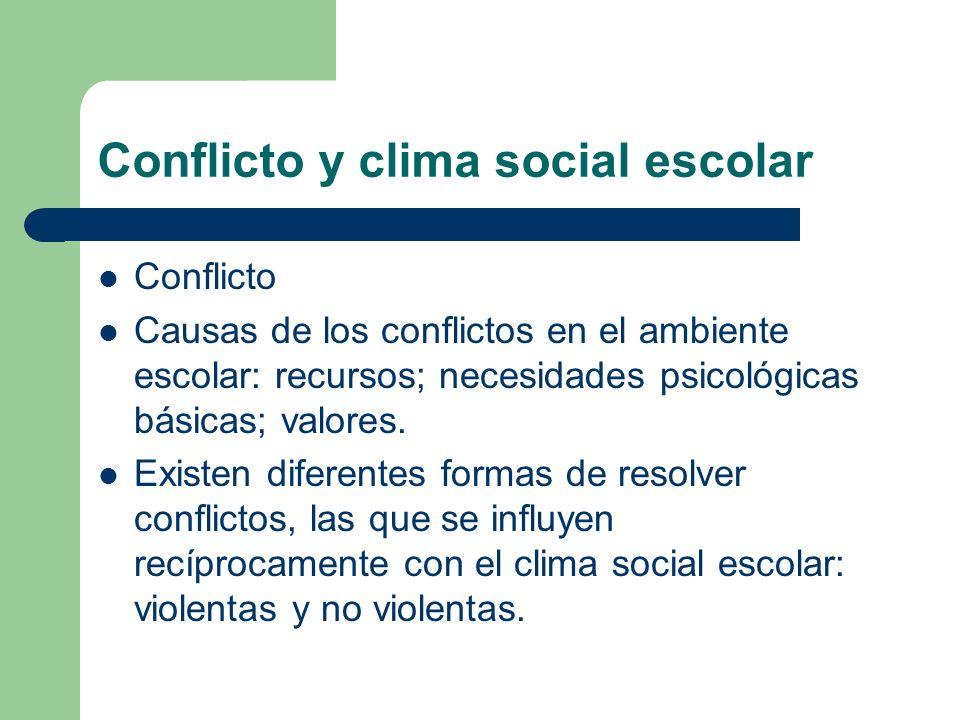 Conflicto y clima social escolar Conflicto Causas de los conflictos en el ambiente escolar: recursos; necesidades psicológicas básicas; valores. Exist